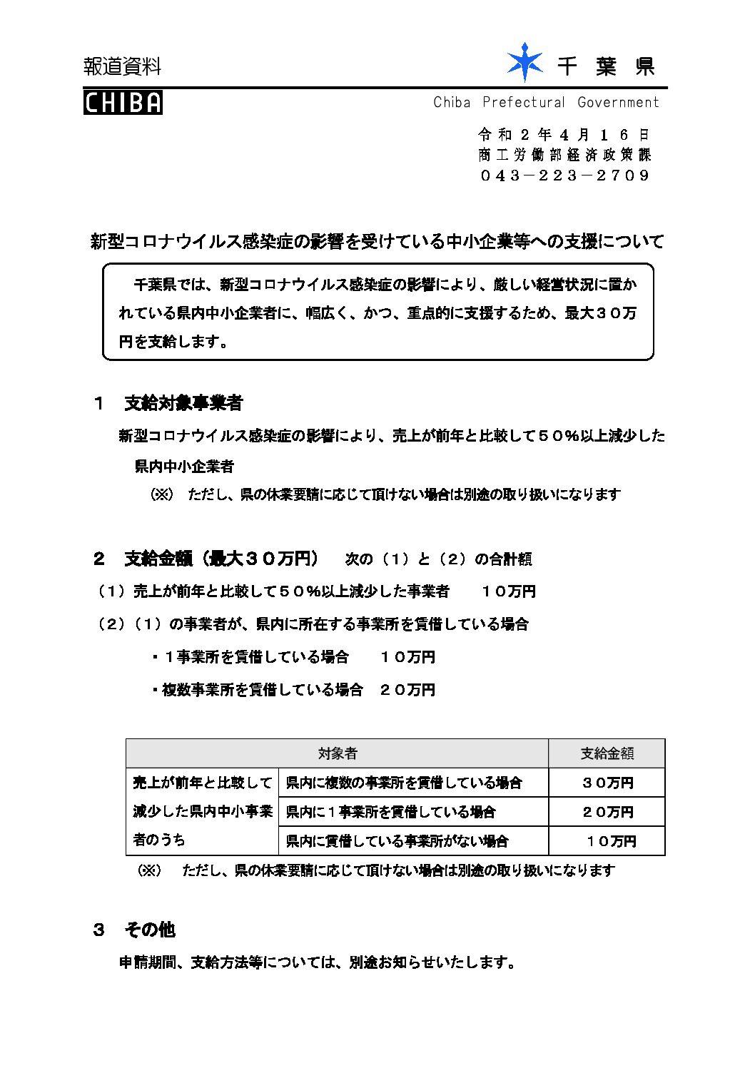 千葉県より 新型コロナウイルス感染症の影響を受けている中小企業等への支援について