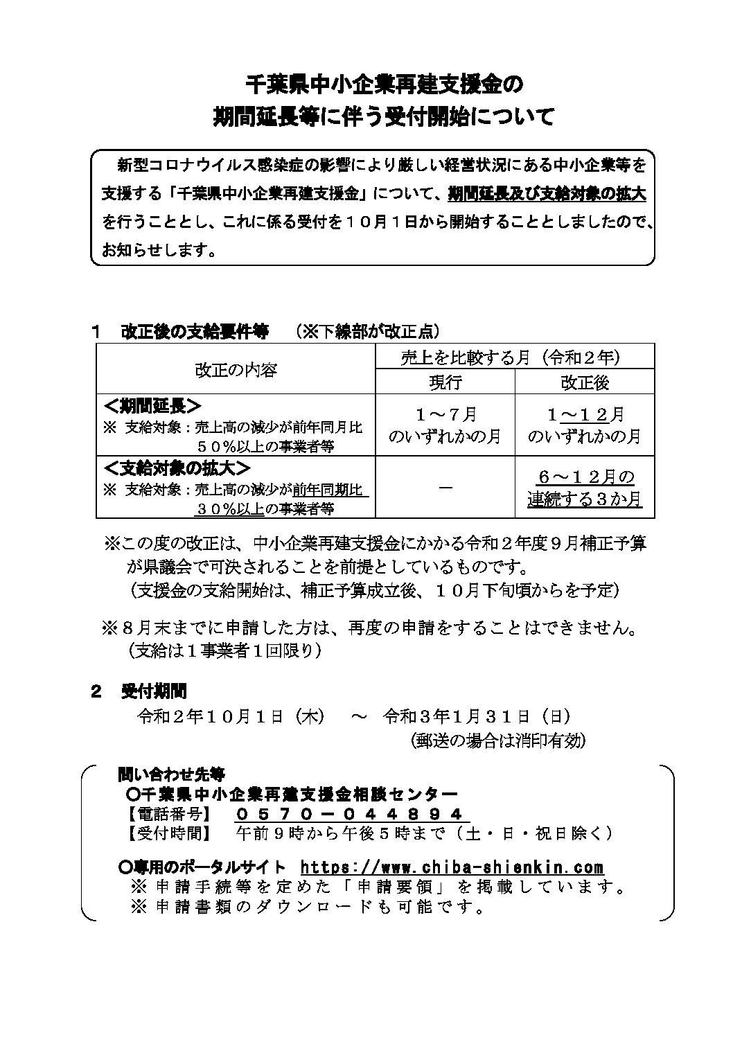 千葉県中小企業再建支援金の 期間延長等に伴う受付開始について