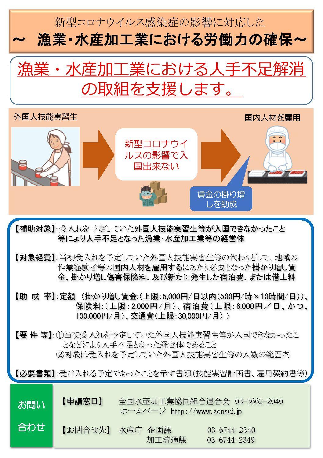 新型コロナウイルス感染症の影響に対応した ~ 漁業・水産加工業における労働力の確保~について
