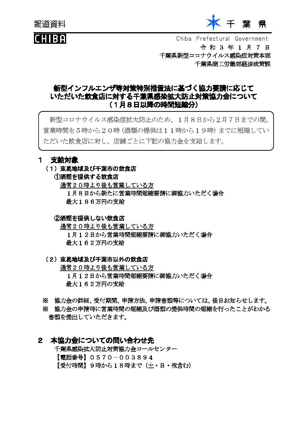 新型インフルエンザ等対策特別措置法に基づく協力要請に応じて いただいた飲食店に対する千葉県感染拡大防止対策協力金について (1月8日以降の時間短縮分)